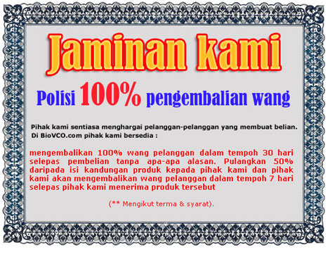 Jaminan belian minyak kelapa dara - BioVCO