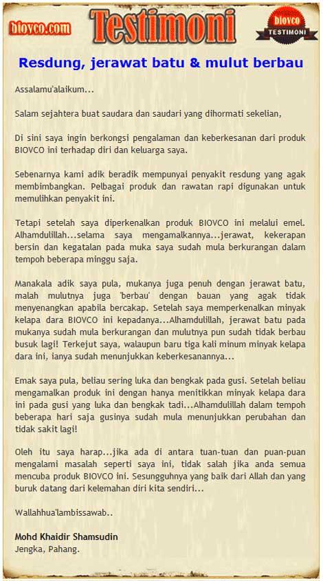 testimoni resdung minyak kelapa dara - BioVCO