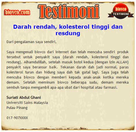 testimoni 23 minyak kelapa dara - BioVCO